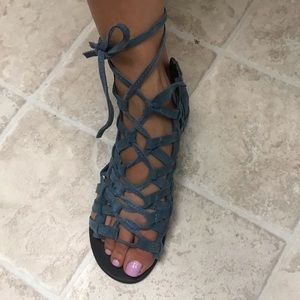Free People Suede gladiator tie-up sandals
